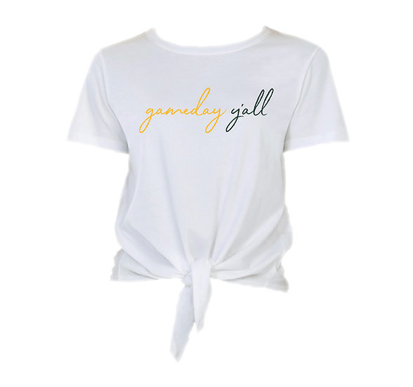Baylor Gameday Y'all Tie Front Crop Tee