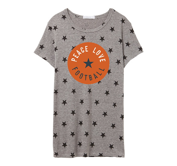 Texas Peace Love Football Crew Neck Star Tee