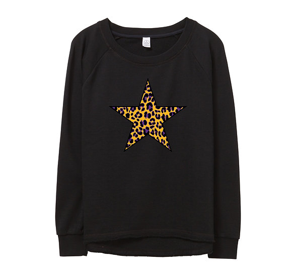 LSU Leopard Star Raw-edge Sweatshirt