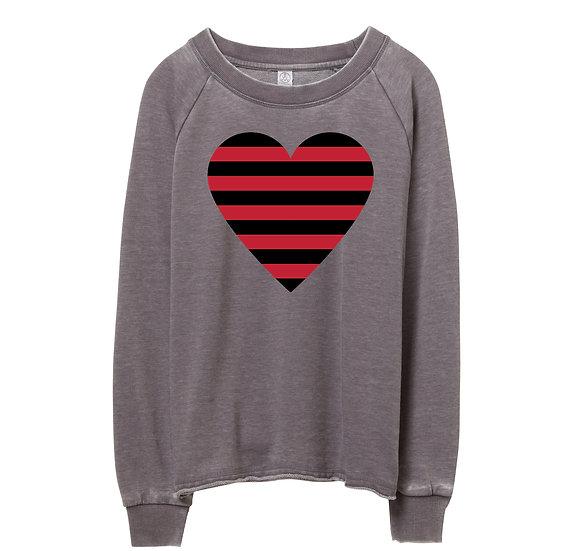 Arkansas Striped Heart Raw-edge Sweatshirt