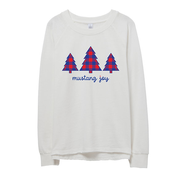 SMU Holiday Tree Raw-edge Sweatshirt