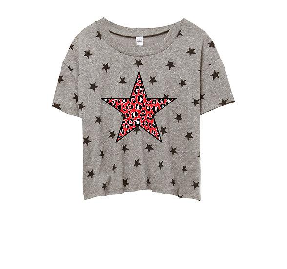 Texas Tech Leopard Star Crop Star Tee