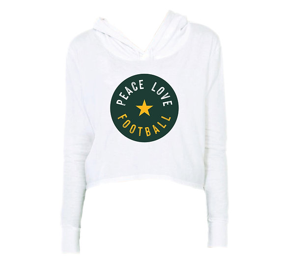 Baylor Peace Love Football Crop Hoodie