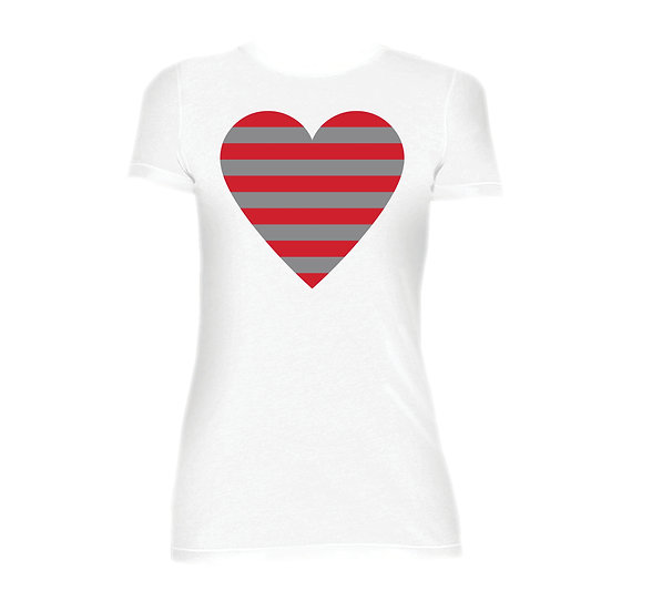 Houston Striped Heart Crew Neck Tee