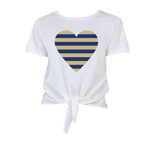 Tulsa Striped Heart Tie Front Crop Tee