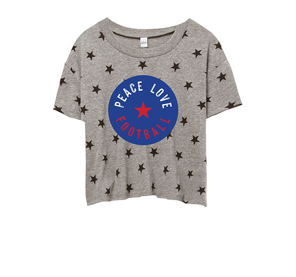 SMU Peace Love Football Crop Star Tee