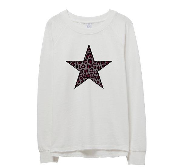 George Ranch Leopard Star Raw-edge Sweatshirt
