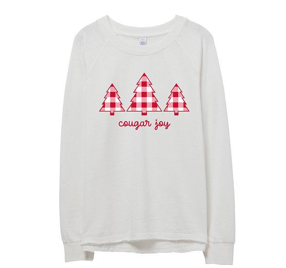 Houston Holiday Tree Raw-edge Sweatshirt