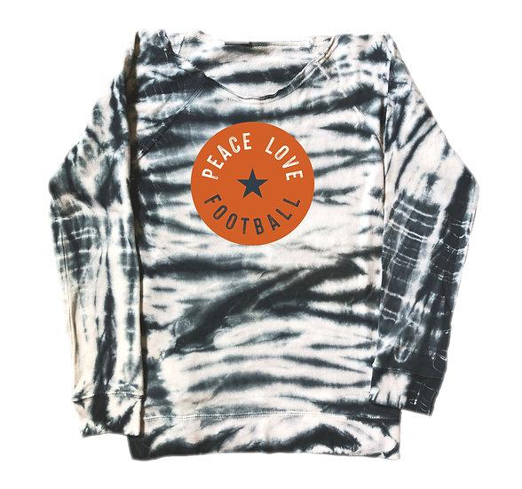 Texas Peace Love Football Tie Dye Sweatshirt