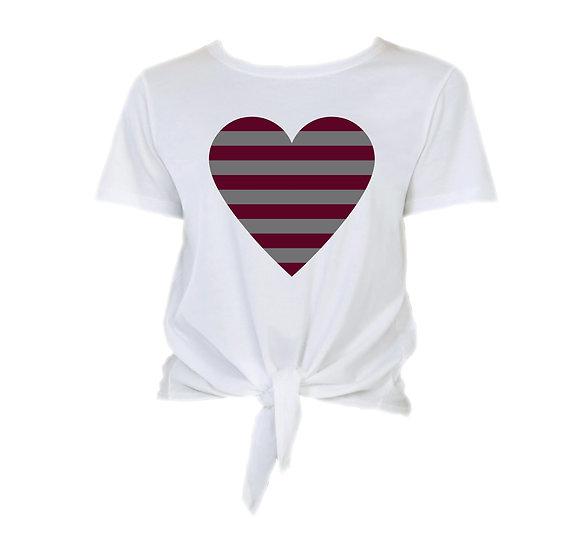 TAMU Striped Heart Tie Front Crop Tee