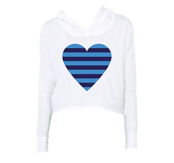 Clements Striped Heart Crop Hoodie