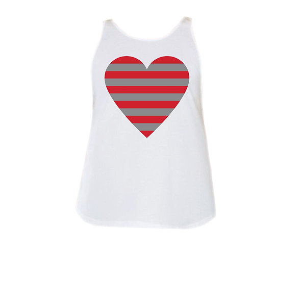 Houston Striped Heart Rounded Tank