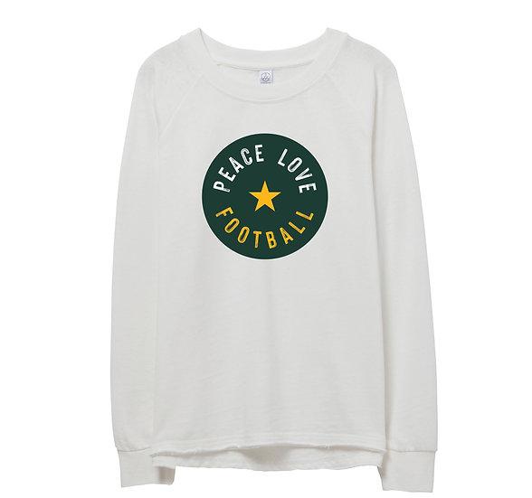 Baylor Peace Love Football Raw-edge Sweatshirt