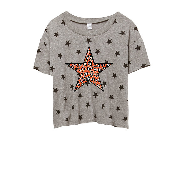 OSU Leopard Star Crop Star Tee