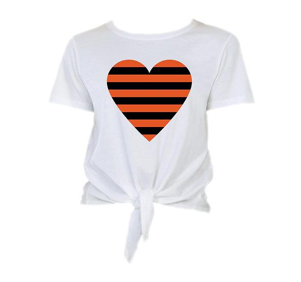 OSU Striped Heart Tie Front Crop Tee