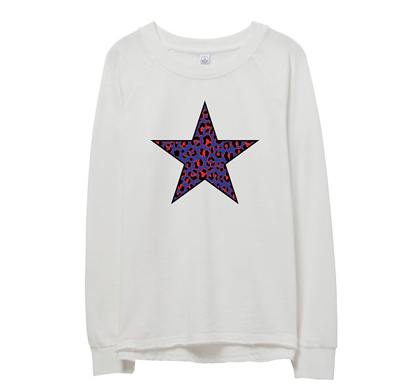 Dulles Leopard Star Raw-edge Sweatshirt
