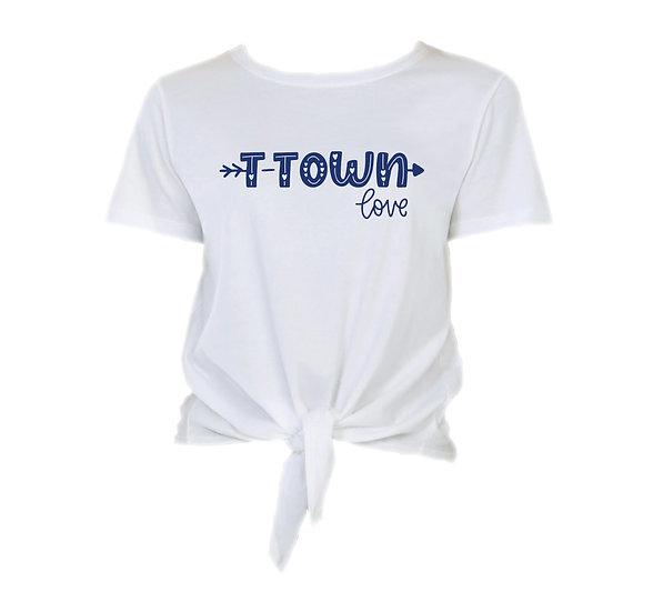 Tulsa City Love Tie Front Crop Tee