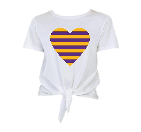 LSU Striped Heart Tie Front Crop Tee