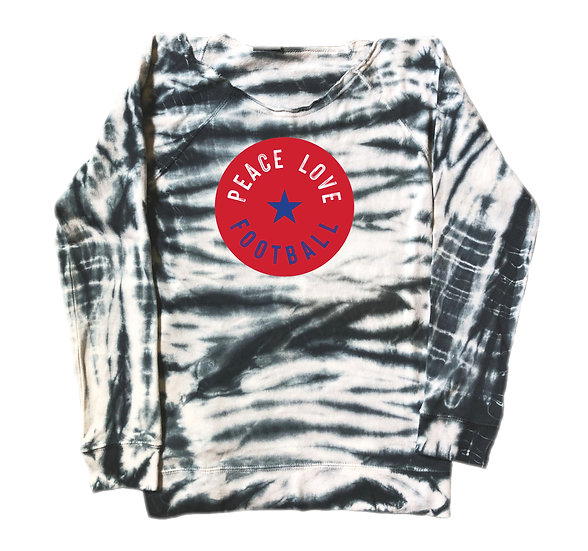 Dulles Peace Love Football Tie Dye Sweatshirt