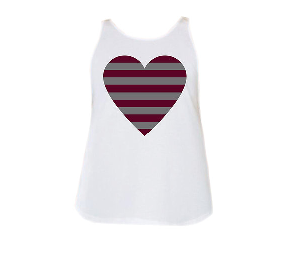 George Ranch Striped Heart Rounded Tank