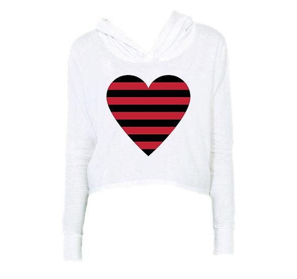 Arkansas Striped Heart Crop Hoodie