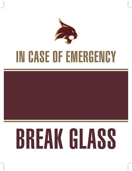 In Case of Emergency - Break Glass! TX ST