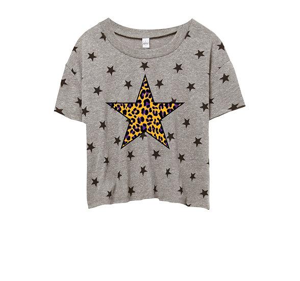 LSU Leopard Star Crop Star Tee