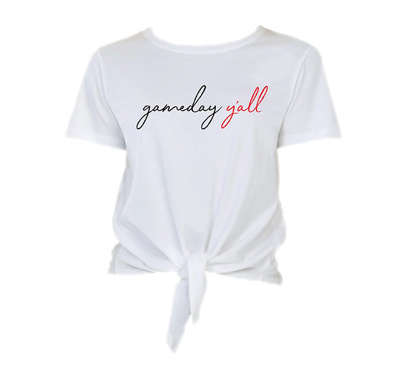 Texas Tech Gameday Y'all Tie Front Crop Tee