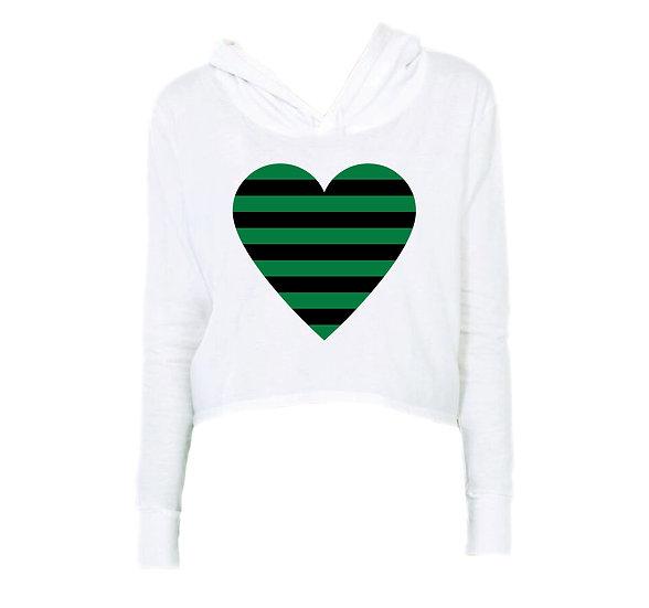 Southlake Striped Heart Crop Hoodie