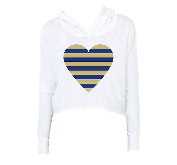 Tulsa Striped Heart Crop Hoodie