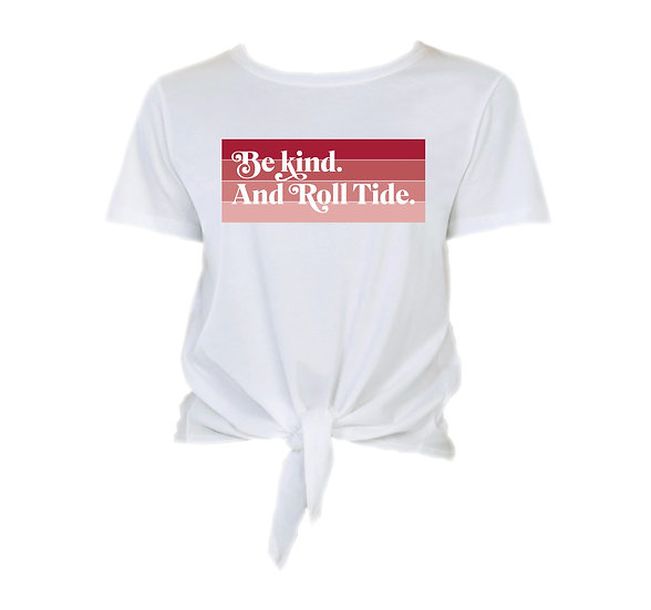 Alabama Be Kind Tie Front Crop Tee