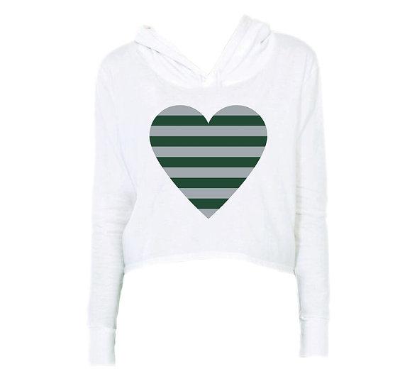 Hightower Striped Heart Crop Hoodie