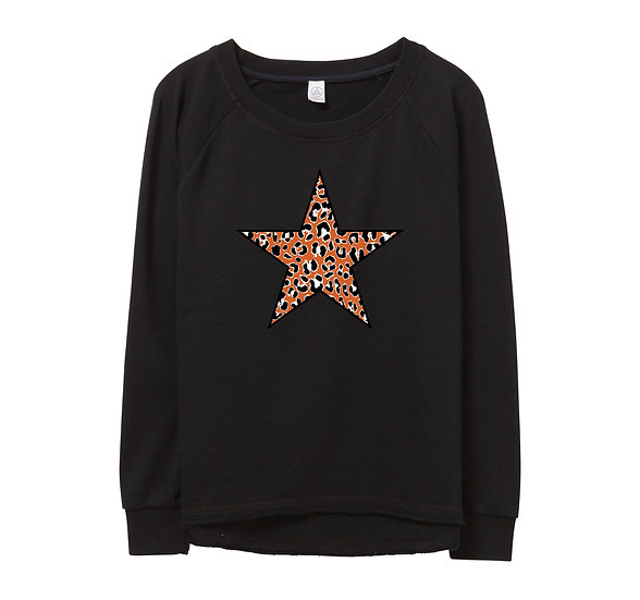 UT Leopard Star Raw-edge Sweatshirt