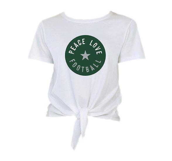 Hightower Peace Love Football Tie Front Crop Tee