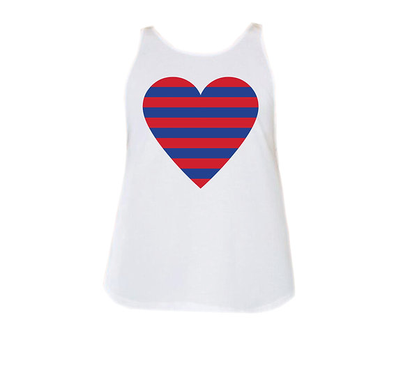 SMU Striped Heart Rounded Tank