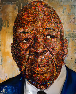 Elijah Cummings 4FT X 5FT (5000+ buttons and collage on panel)