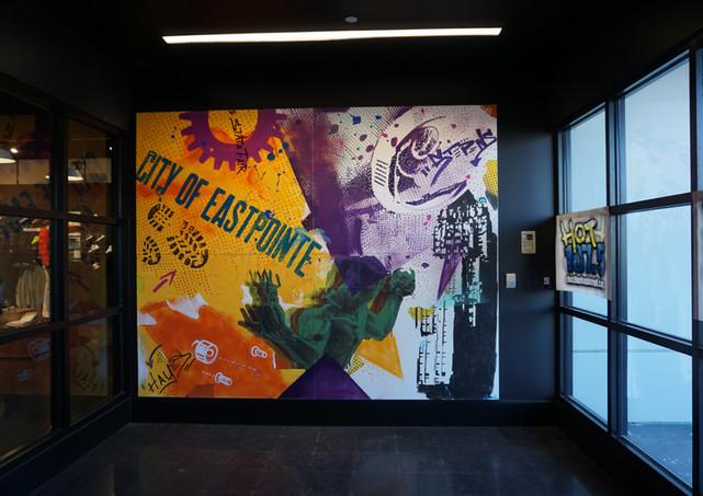 footlocker interior mural facade