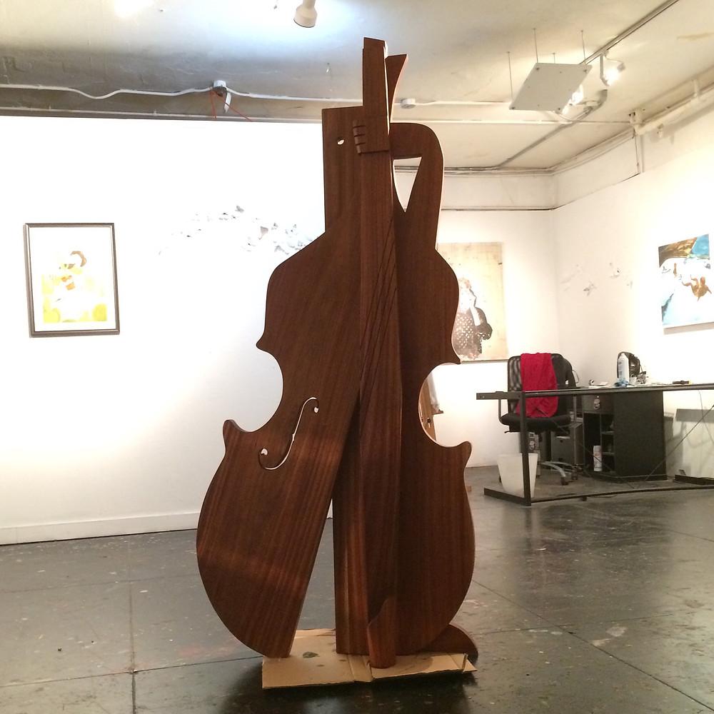 """""""Tololochero"""" (Bass Player), Mahogany Wood"""