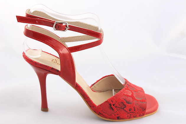 Red Lace with Shiny Ankle