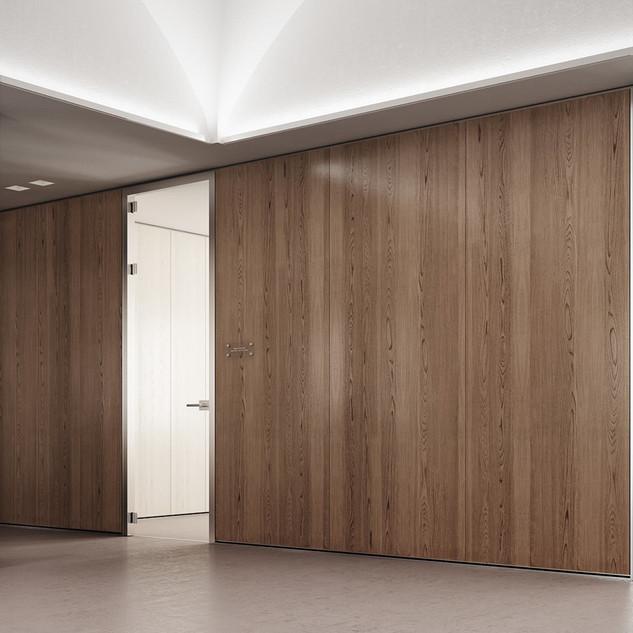 PLANIKA_walnut_wood_office_wall_with_gla