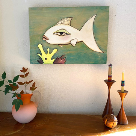 "Jade Fish 16"" x12"""