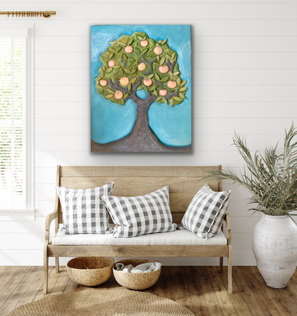 Gravenstein Apple Tree- sculptural Painting $900