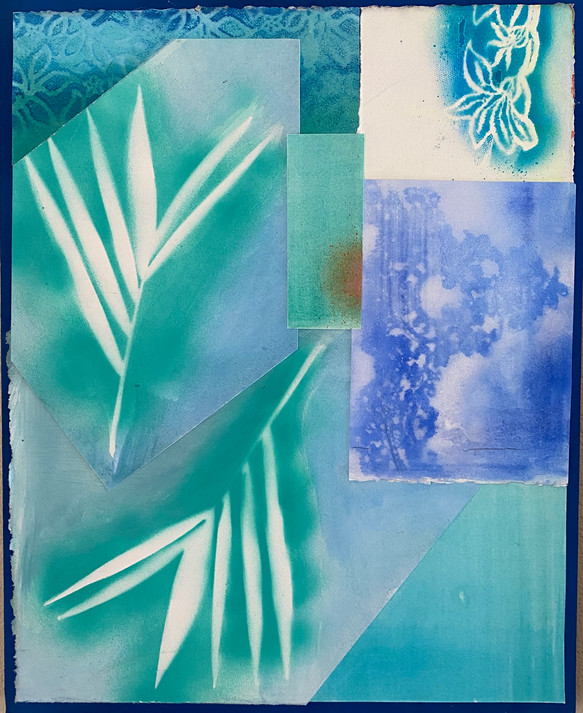 Two Palms in Blue $280