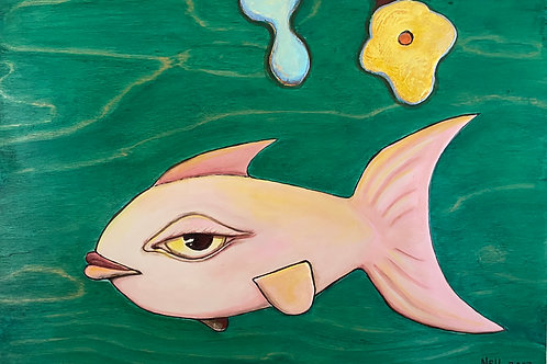 Pink Fish on Wood