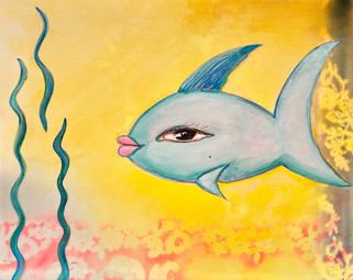 Blue Fish with Yellow Flowers $600