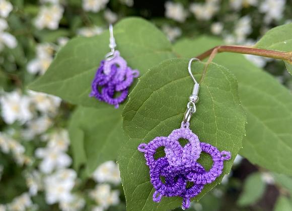Tatted Earrings - variegated purple