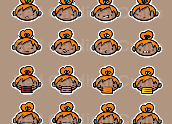 Digital Stickers - Faces/Medium skin/orange hair