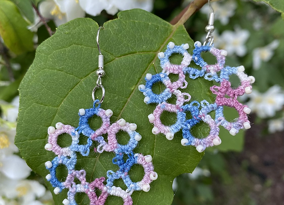 Tatted Earrings - pink and blue