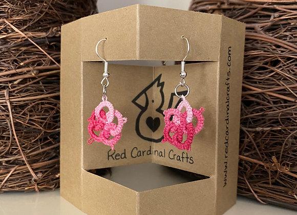 Tatted Earrings - variegated pink