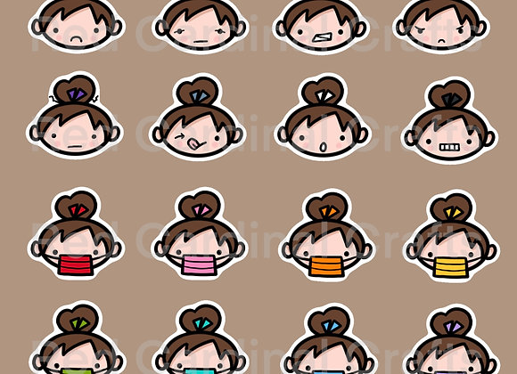 Digital Stickers - Faces/light skin/brown hair